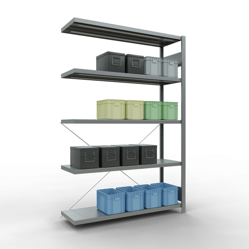 Steckregal Anbauregal 2000x1300x400 mm Fachlast 250 kg Rahmen montiert 5 Fachböden SCHULTE Lagertechnik