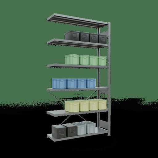 Steckregal Anbauregal 2500x1300x400 mm Fachlast 250 kg Rahmen montiert 6 Fachböden SCHULTE Lagertechnik