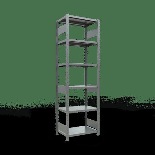 Steckregal Grundregal  2500x 750×500, Fachlast 250 kg  Rahmen montiert mit Längenriegel SCHULTE Lagertechnik