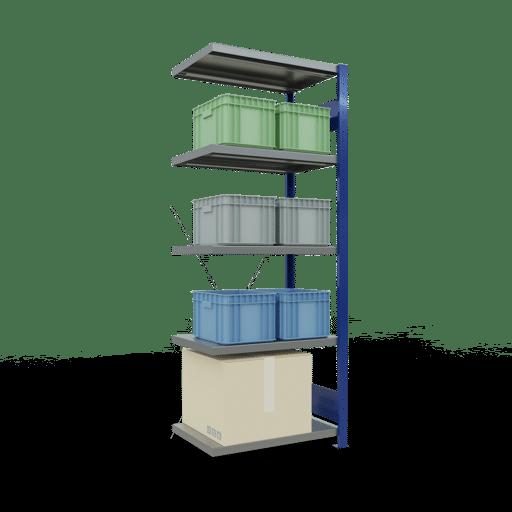Steckregal Anbauregal 2000x750x500 mm Fachlast 250 kg Rahmen montiert 5 Fachböden SCHULTE Lagertechnik