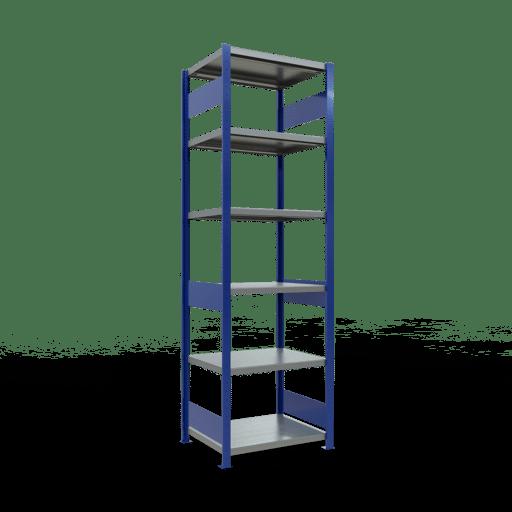 Steckregal Grundregal  2500x 750×600, Fachlast 250 kg  Rahmen montiert mit Längenriegel SCHULTE Lagertechnik