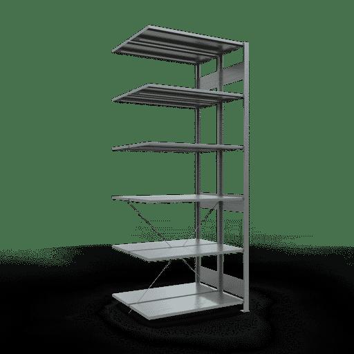 Doppelregal Anbauregal Stecksystem 2500x1000x2x400 mm 2×6 Fachböden 150 kg Fachlast SCHULTE Lagertechnik