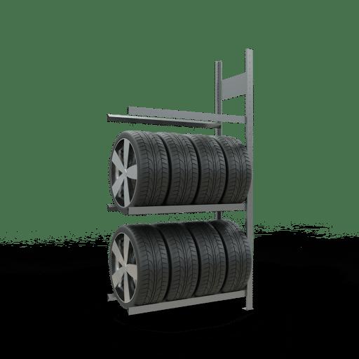 Reifenregal Anbauregal SCHULTE Lagertechnik 2000x1000x400 mm – 3 Ebenen á 1000 mm,  Rahmen montiert