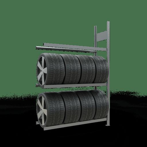 Reifenregal Anbauregal SCHULTE Lagertechnik 2000x1300x400 mm – 3 Eb. á 1300 mm,  Rahmen montiert