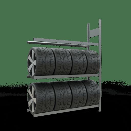 Räderregal Anbauregal SCHULTE Lagertechnik 2000x1500x400 mm – 3 Ebenen á 1500 mm, verzinkt