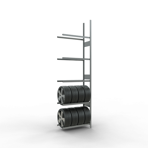 Räderregal Anbauregal SCHULTE Lagertechnik 3500x1000x400 mm – 5 Ebenen á 1000 mm, verzinkt