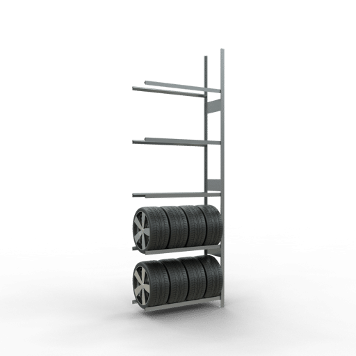 Räderregal Anbauregal SCHULTE Lagertechnik 3500x1150x400 mm – 5 Ebenen á 1150 mm, verzinkt