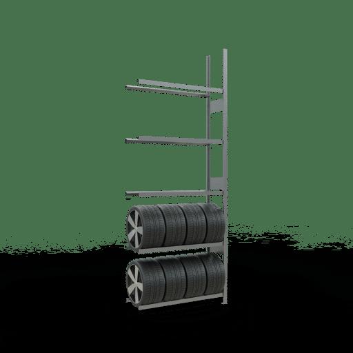 Räderregal Anbauregal SCHULTE Lagertechnik 3500x1300x400 mm – 5 Ebenen á 1300 mm, verzinkt