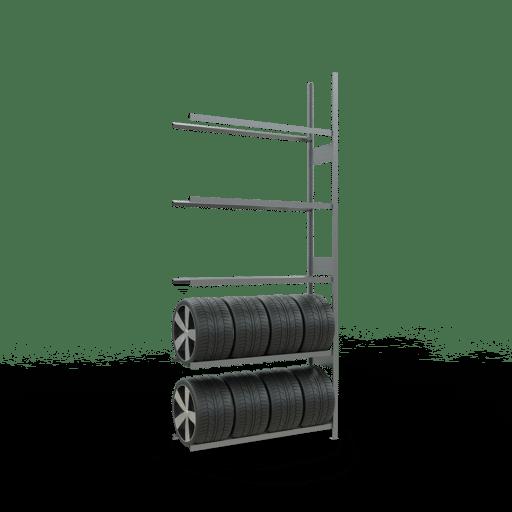 Räderregal Anbauregal SCHULTE Lagertechnik 3500x1500x400 mm – 5 Ebenen á 1500 mm, verzinkt