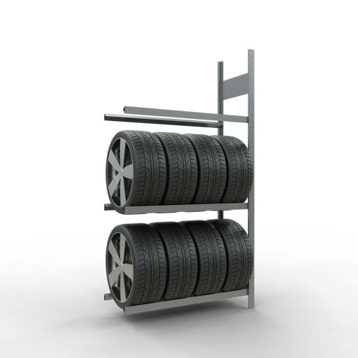 Räderregal Anbauregal SCHULTE Lagertechnik 2000x1050x400 mm – 3 Ebenen á 1050 mm, verzinkt