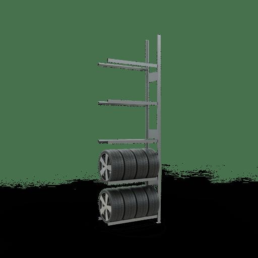 Räderregal Anbauregal SCHULTE Lagertechnik 3500x1050x400 mm – 5 Ebenen á 1050 mm, verzinkt