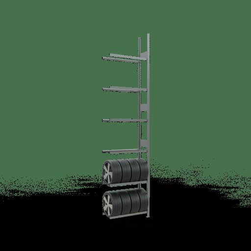 Räderregal Anbauregal SCHULTE Lagertechnik 4500x1050x400 mm – 6 Ebenen á 1050 mm, verzinkt