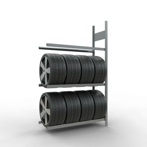 Räderregal Anbauregal SCHULTE Lagertechnik 2000x1200x400 mm – 3 Ebenen á 1200 mm, verzinkt