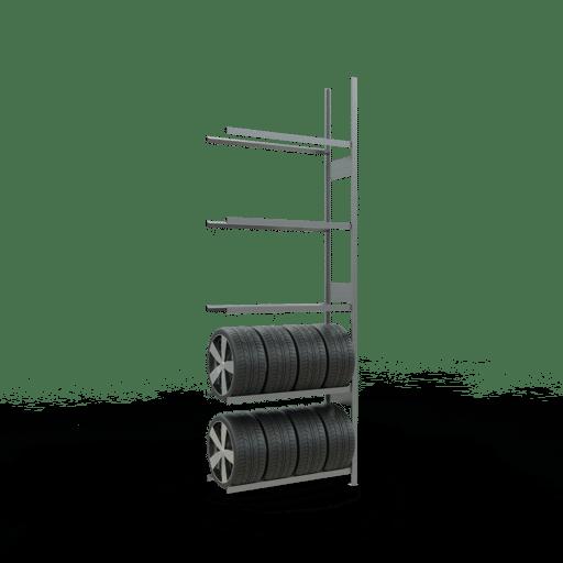 Räderregal Anbauregal SCHULTE Lagertechnik 3500x1200x400 mm – 5 Ebenen á 1200 mm, verzinkt
