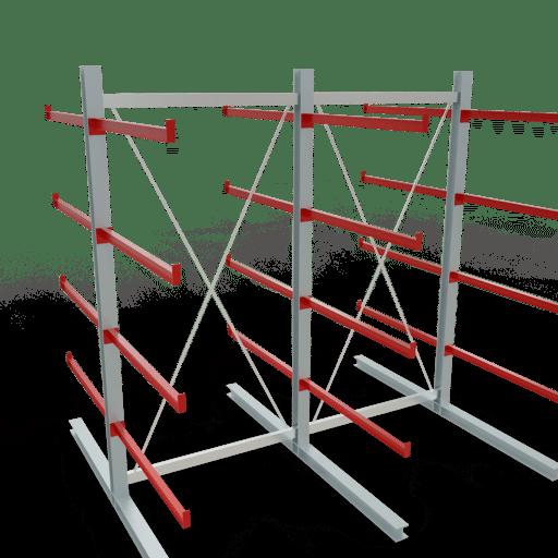Kragarmregal K3000 Komplettregal 2500x2600x2x600 mm (HxBxT) doppelseitig SCHULTE Lagertechnik