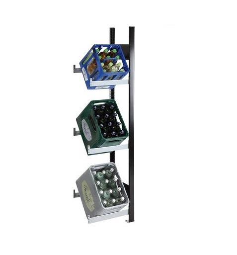 Getränkekistenregal 3 Kisten SCHULTE Anbauregal – 1800x400x300 mm (HxBxT) schwarz-silber