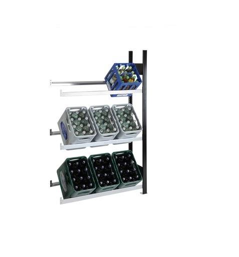 Getränkekistenregal 9 Kisten SCHULTE Anbauregal – 1800x1000x300 mm (HxBxT) schwarz-silber