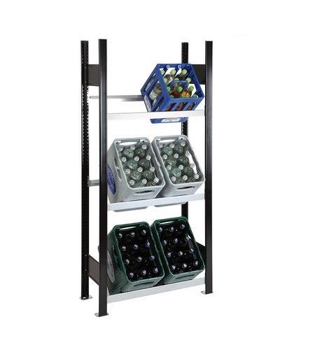 Getränkekistenregal 6 Kisten SCHULTE Grundregal – 1800x750x300 mm (HxBxT) schwarz-silber