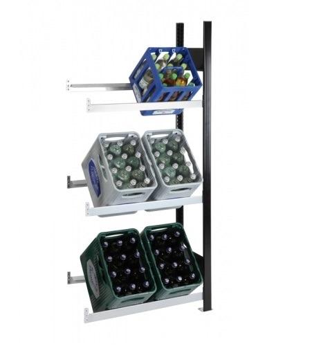 Getränkekistenregal 6 Kisten SCHULTE Anbauregal – 1800x750x300 mm (HxBxT) schwarz-silber