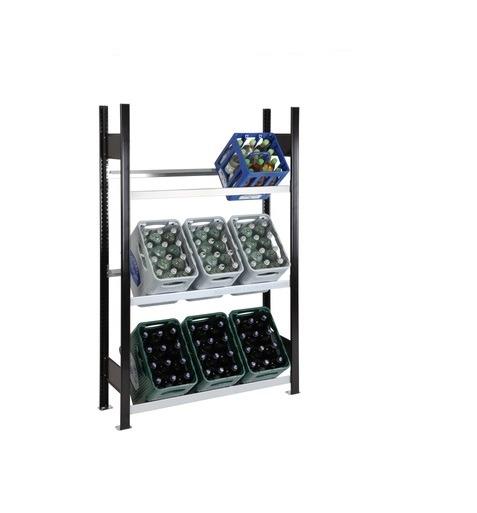 Getränkekistenregal 9 Kisten SCHULTE Grundregal – 1800x1000x300 mm (HxBxT) schwarz-silber