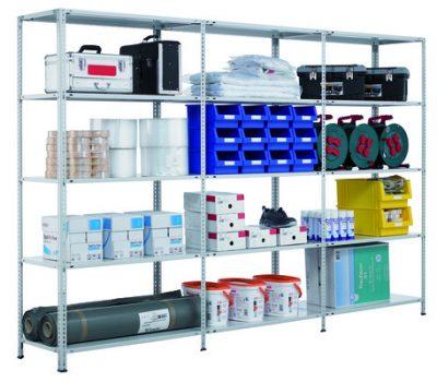 Schraubregal Komplettregal 3000x10400x800 mm (HxBxT) SCHULTE Lagertechnik verzinkt 7 Ebenen