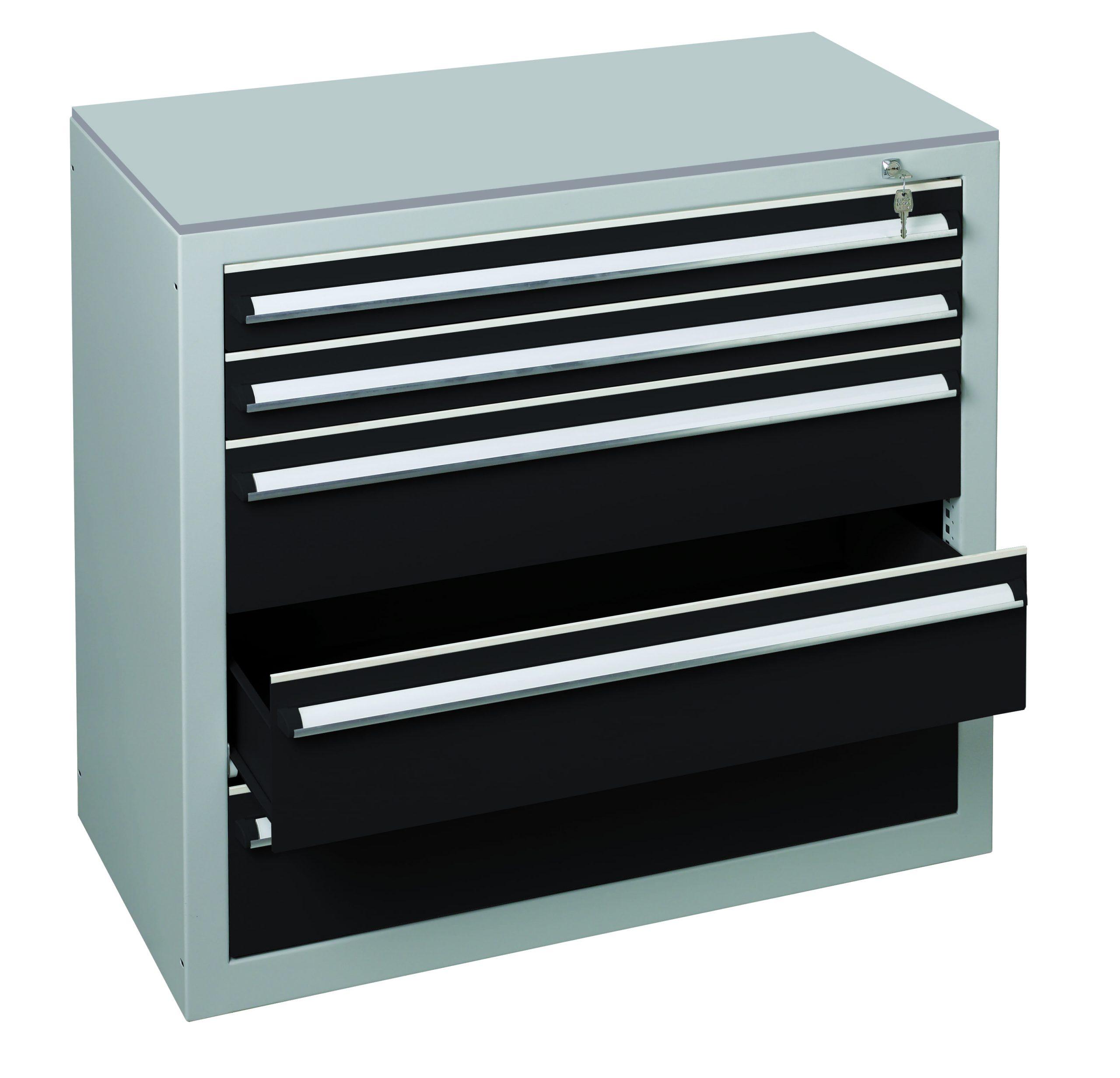 Schubladenblock für Fachbodenregal SCHULTE Lagertechnik  900×500 mm HxT – 3 Laden 200 mm, 2 Laden 100 mm