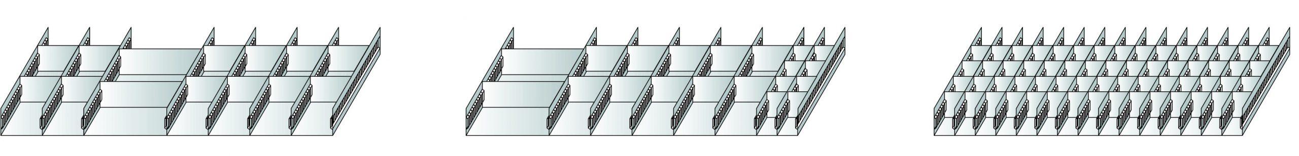 Schlitzwannen-Set 6 für – Schubladen, 200 mm Höhe