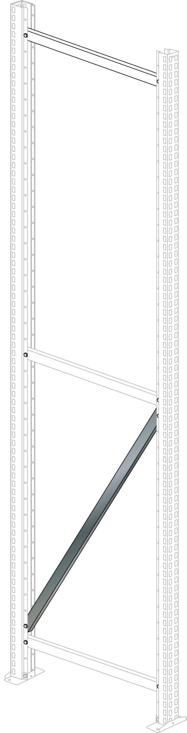 Diagonale 1254 mm für Multifunk- – tionsstütze, Tiefe 1000 mm, verz.