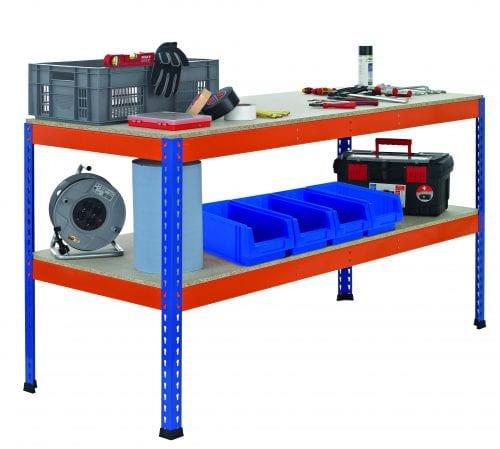 Z1 Werktisch blau/orange – 990 x 1.536 x 621 mm Arbeitstisch / Packtisch