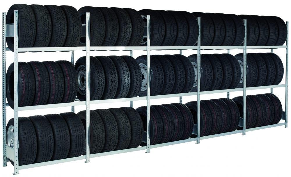 Containerregal-Set für Reifen und Räder – 20-Fuß-Container SCHULTE Lagertechnik