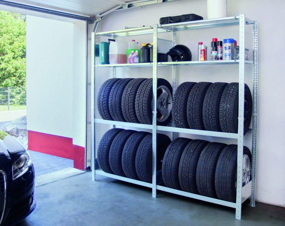 Garagenregal-Set Grundregal SCHULTE 2000 x 1000 x 400 mm, verzinkt, 2 Fachböden & 2 Reifenebenen á 150 kg Fachlast