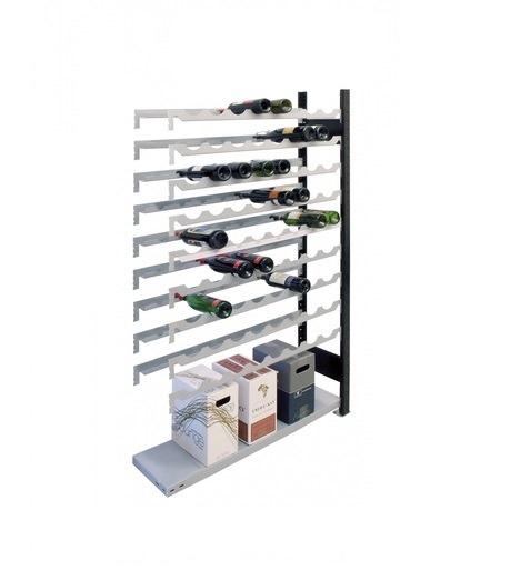Weinregal Anbauregal 1800 x 1000 x 250 mm, Ikea-Silber / Schwarz  9 Ebenen für 72 Flaschen