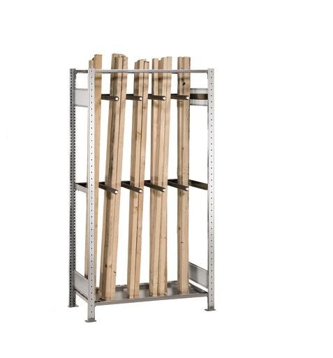 Langgutregal Grundregal 2000x1000x500 mm – verzinkt mit 8 Unterteilungsrohren SCHULTE Lagertechnik