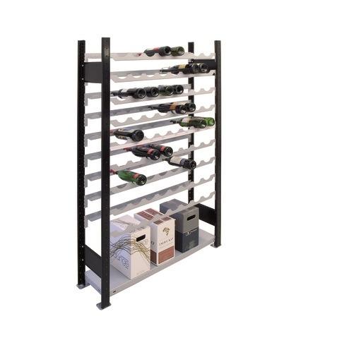 Weinregal Grundregal 1800 x 1000 x 250 mm, Ikea-Silber / Schwarz  9 Ebenen für 72 Flaschen