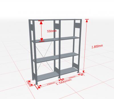 Fachbodenregal Komplettregal 1800x1566x300 mm (HxBxT) SCHULTE Lagertechnik verzinkt 4 Ebenen