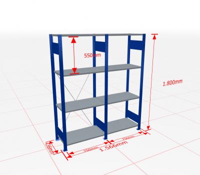 Fachbodenregal Komplettregal 1800x1566x400 mm (HxBxT) SCHULTE Lagertechnik blau 4 Ebenen