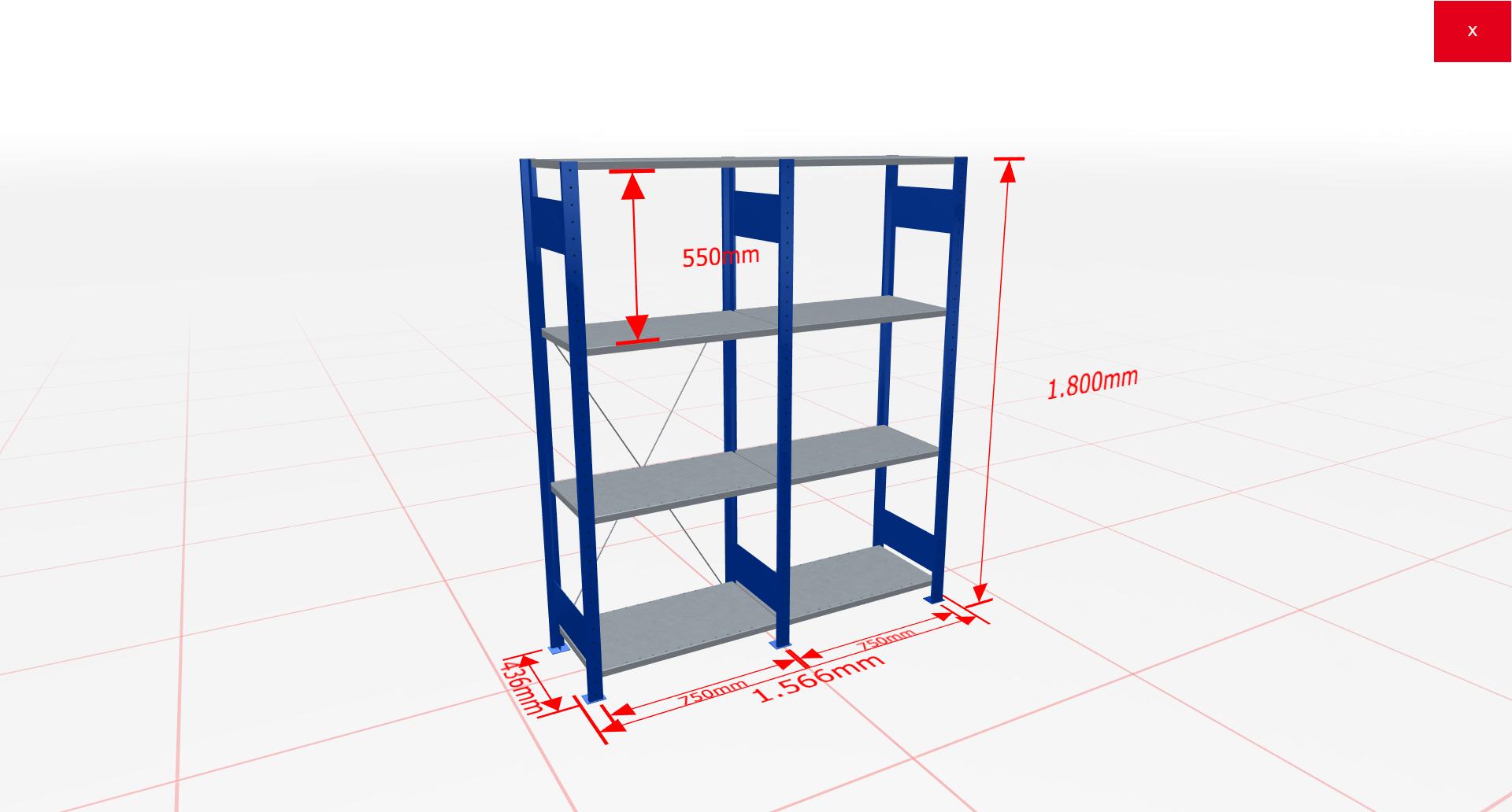 Fachbodenregal Komplettregal 1800x1566x400 mm (HxBxT) SCHULTE Lagertechnik blau 4 Ebenen  150 kg je Boden