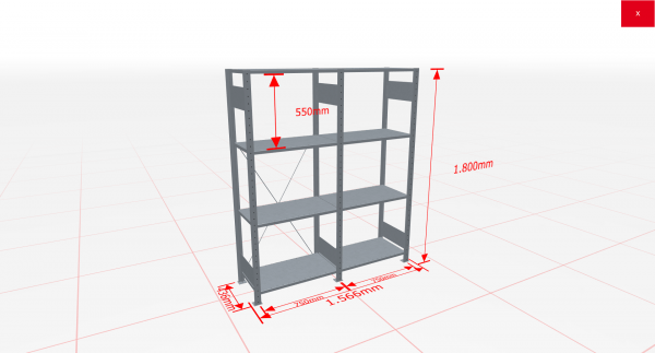Fachbodenregal Komplettregal 1800x1566x400 mm (HxBxT) SCHULTE Lagertechnik verzinkt 4 Ebenen