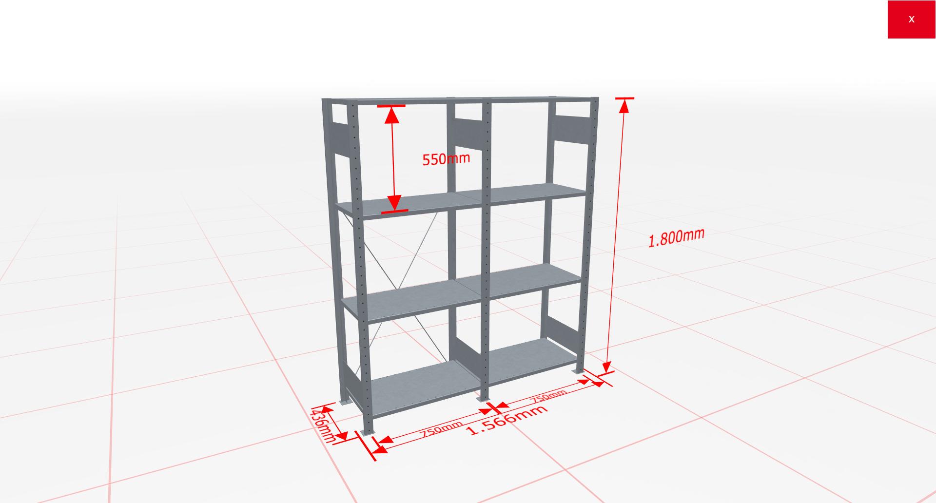 Fachbodenregal Komplettregal 1800x1566x400 mm (HxBxT) SCHULTE Lagertechnik verzinkt 4 Ebenen  150 kg je Boden