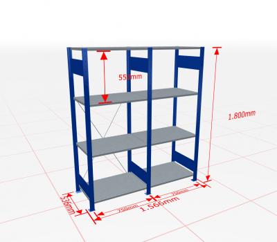 Fachbodenregal Komplettregal 1800x1566x500 mm (HxBxT) SCHULTE Lagertechnik blau 4 Ebenen