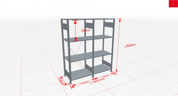 Fachbodenregal Komplettregal 1800x1566x500 mm (HxBxT) SCHULTE Lagertechnik verzinkt 4 Ebenen