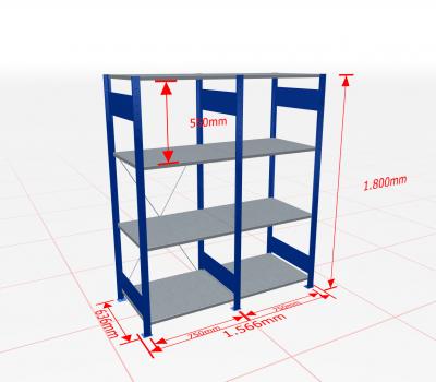 Fachbodenregal Komplettregal 1800x1566x600 mm (HxBxT) SCHULTE Lagertechnik blau 4 Ebenen