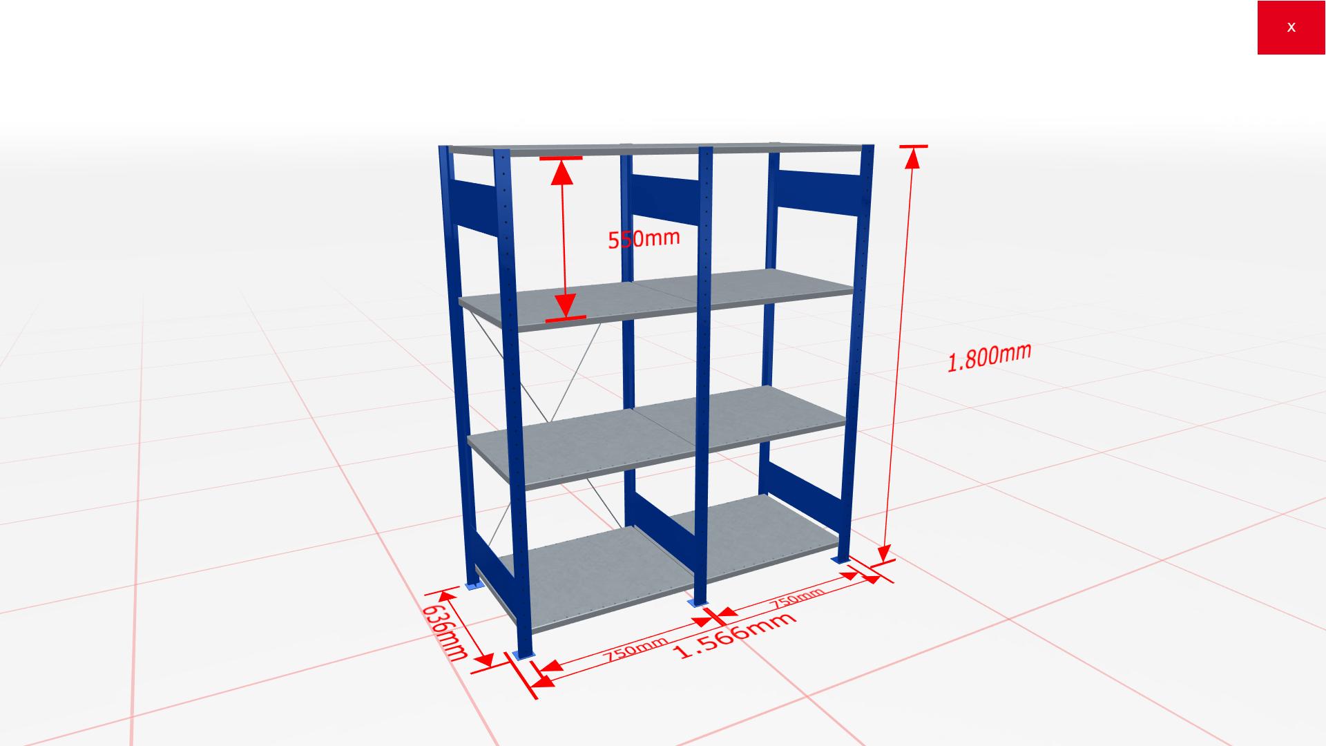 Fachbodenregal Komplettregal 1800x1566x600 mm (HxBxT) SCHULTE Lagertechnik blau 4 Ebenen  150 kg je Boden