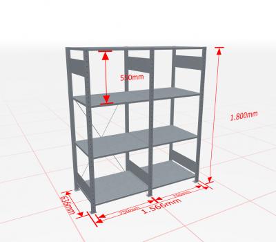 Fachbodenregal Komplettregal 1800x1566x600 mm (HxBxT) SCHULTE Lagertechnik verzinkt 4 Ebenen