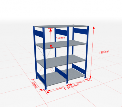 Fachbodenregal Komplettregal 1800x1566x800 mm (HxBxT) SCHULTE Lagertechnik blau 4 Ebenen