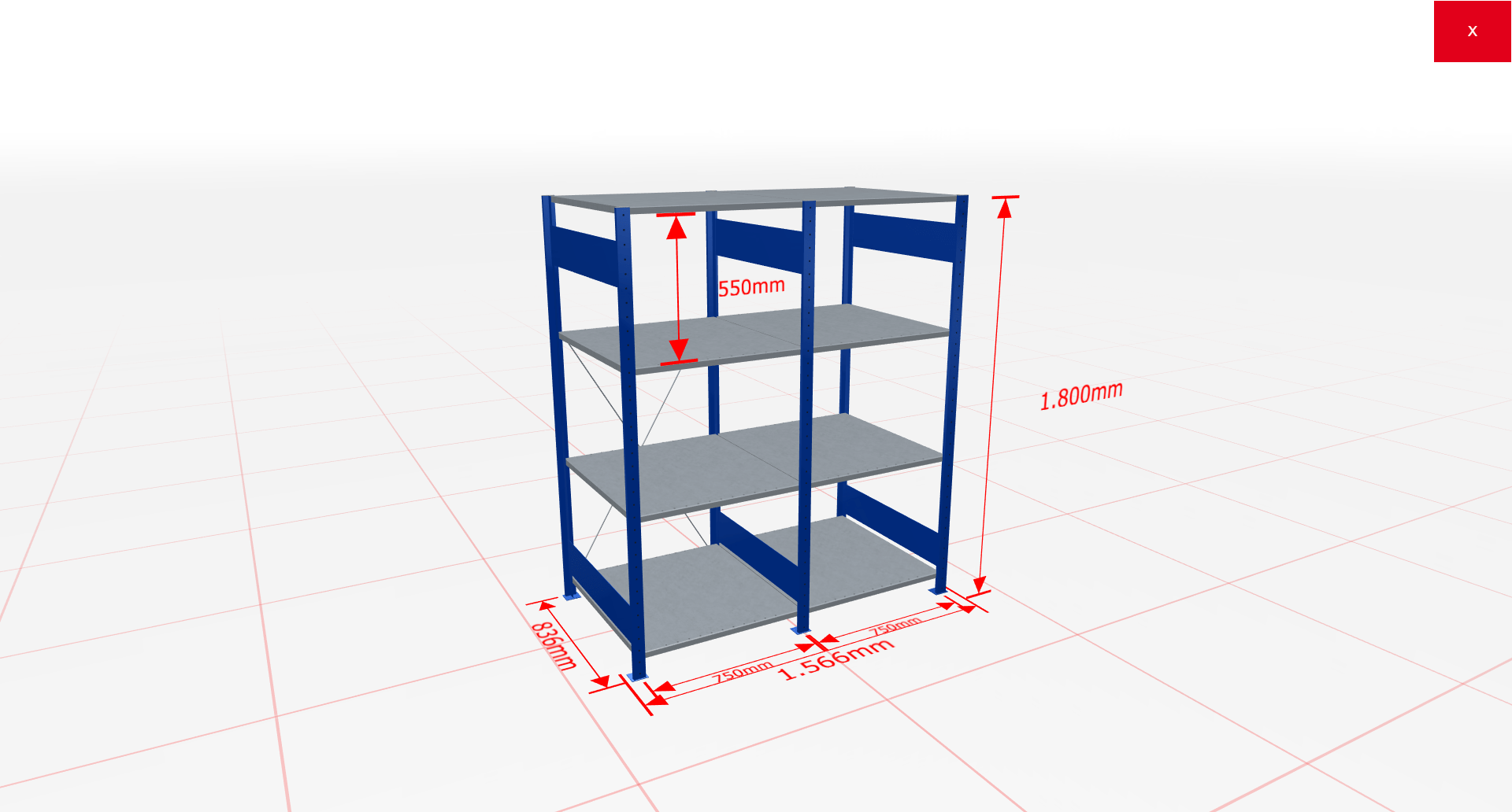Fachbodenregal Komplettregal 1800x1566x800 mm (HxBxT) SCHULTE Lagertechnik blau 4 Ebenen  150 kg je Boden