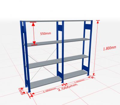 Fachbodenregal Komplettregal 1800x2066x300 mm (HxBxT) SCHULTE Lagertechnik blau 4 Ebenen