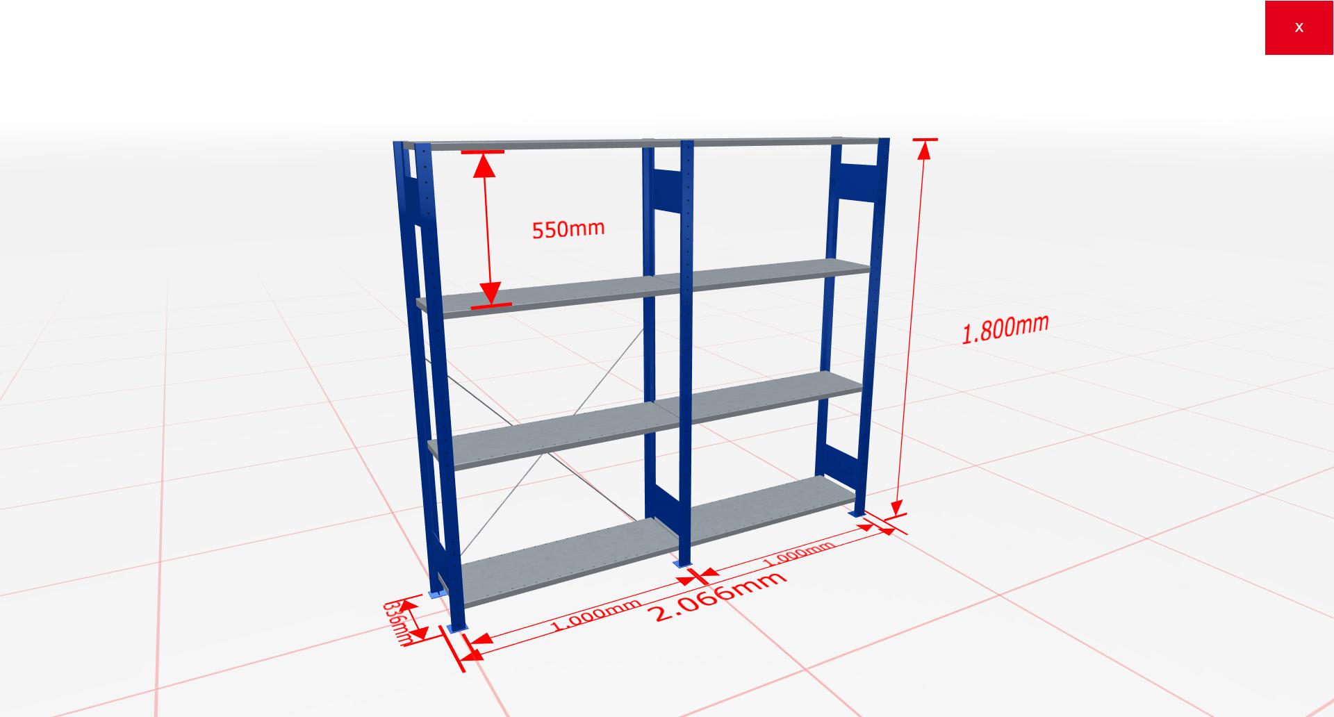 Fachbodenregal Komplettregal 1800x2066x300 mm (HxBxT) SCHULTE Lagertechnik blau 4 Ebenen  150 kg je Boden