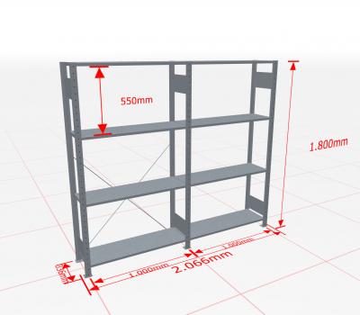 Fachbodenregal Komplettregal 1800x2066x300 mm (HxBxT) SCHULTE Lagertechnik verzinkt 4 Ebenen