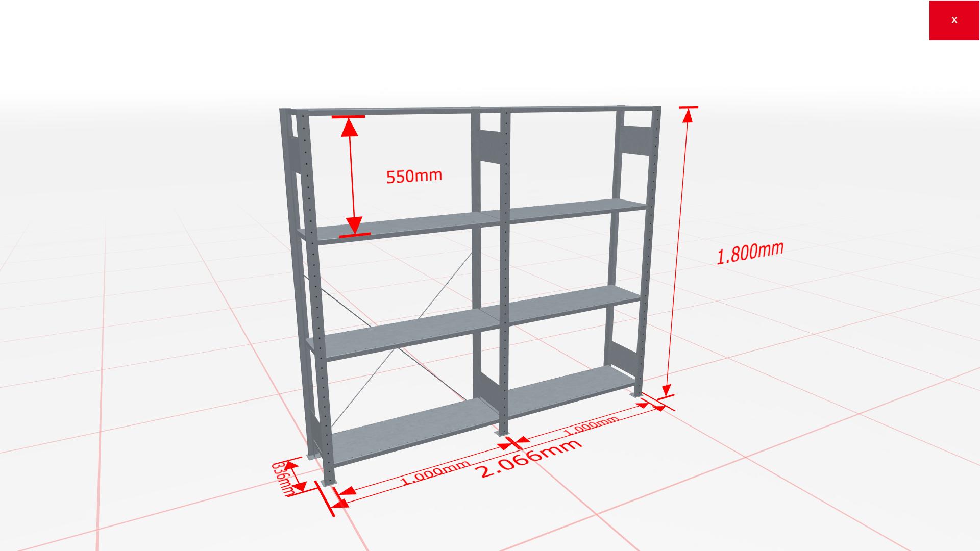 Fachbodenregal Komplettregal 1800x2066x300 mm (HxBxT) SCHULTE Lagertechnik verzinkt 4 Ebenen  150 kg je Boden